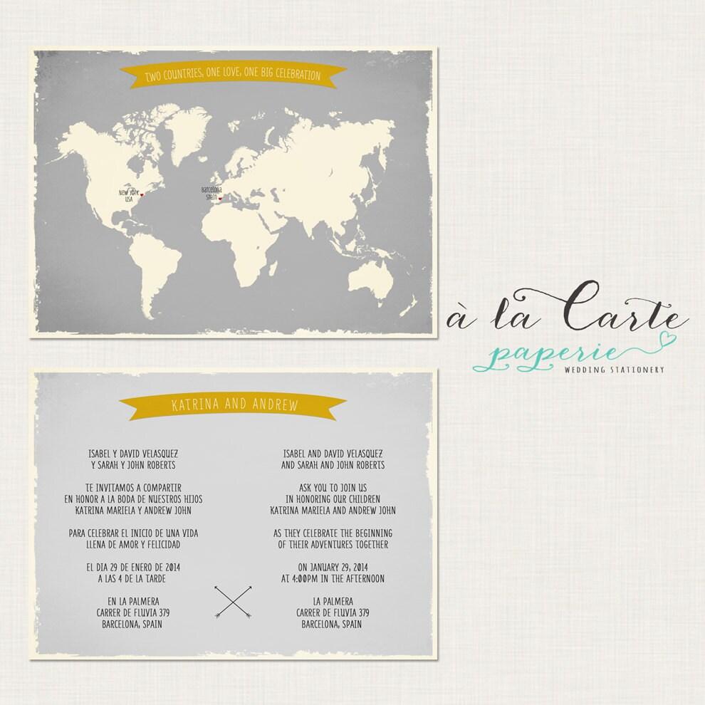 Bilingual Wedding Invitation World Map Invite Two Countries
