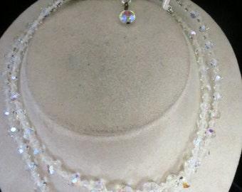 Vintage Double Strand Aurora Borialis Crystal Necklace