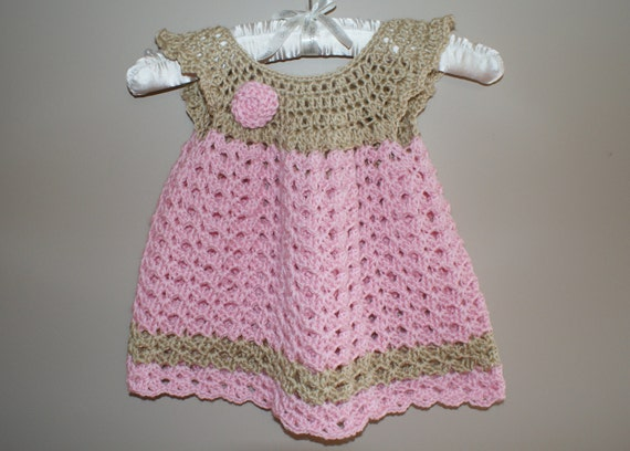 Crochet Baby Winter Dress Pattern : Baby Dress Pinafore Crochet Newborn Dress Infant Baby Girl