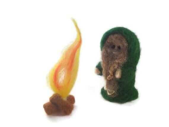 Needle Felted Forest Druid - Merlin, Wizard, Emrys, (Miniature Folklore Sculpture)