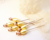 Set 6 pink cream ivory pearl headed Angel straight pins ivory sewing craft room bulletin board wedding bouquet TAGT tenx