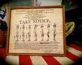 Vintage Military Take Notice Recruitment Poster