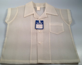 1950s Vintage Boy's SHEER and Textured  DuPont  NYLON Classic Fifties New Old Stock Shirt Just Like Dads New Old Stock DEADSTOCK