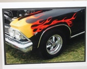 photo card,  66 Malibu Coupe, classic car, flames
