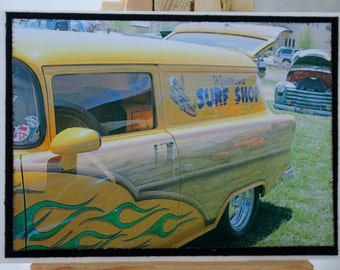 ACEO, ATC, Artist trading card, 1955 Woody, classic car photograph