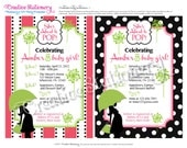 She's About to Pop Baby Shower DIY Party Invitations. Pink and Lime Green. Customized just for you.