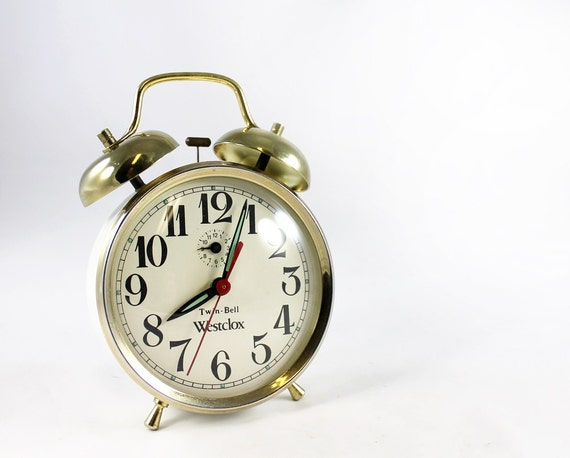 Vintage Gold & White Twin-Bell Westclox Wind Up Alarm Clock