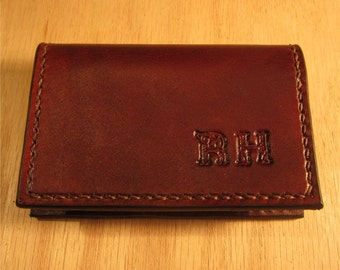 Leather Card Case,  Leather Business Card Holder, Personalized Leather Business Card Holder, Brown Card Case, Personalized Wallet