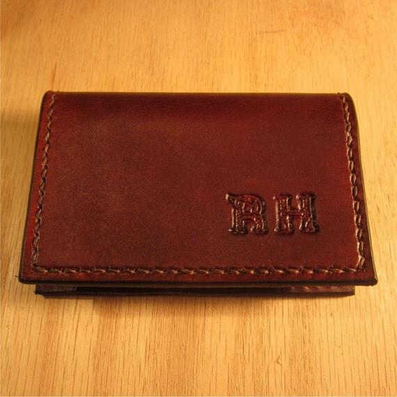 Leather card case leather business card holder personalized for Monogrammed leather business card holder