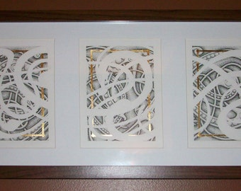 Urnes Style Nordic Wolf Triptych Print