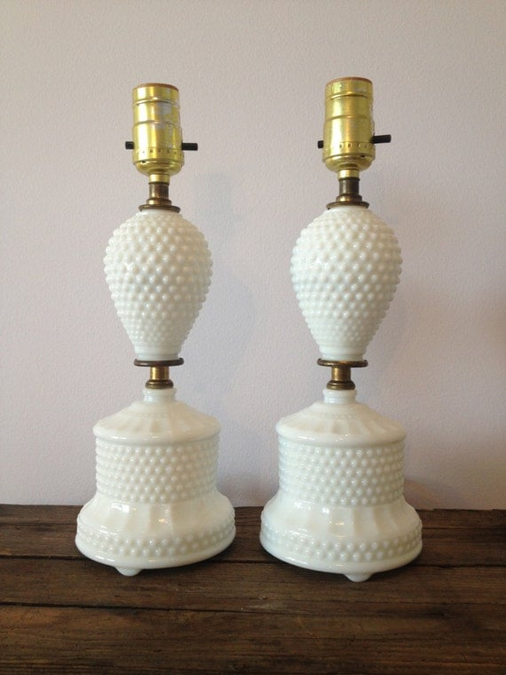 SALE Vintage hobnail milk glass working lamps / by MellaFina