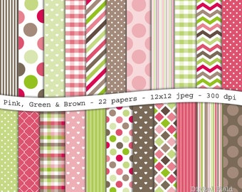 Pink, Green & Brown digital scrapbooking paper pack - 22 printable jpeg papers, 12x12, 300 dpi - instant download