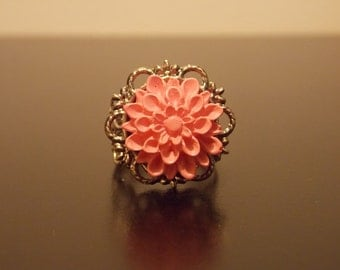 Pink and Silver Adjustable Ring