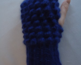 Purple Crochet Alpaca Fingerless Mittens / Fingerless Gloves