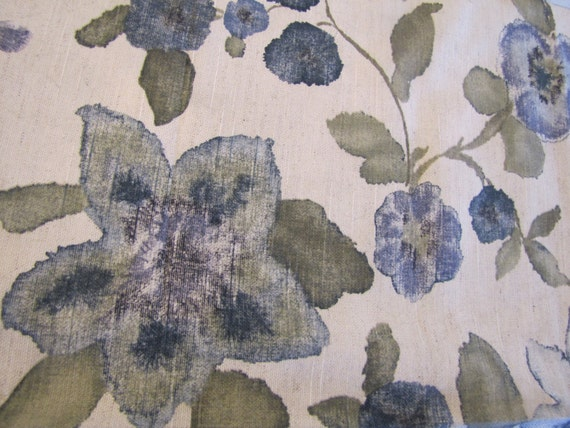 Vintage Floral Fabric, Blue Floral Fabric, Cotton Fabric, Decorator Weight Fabric, Blue Floral