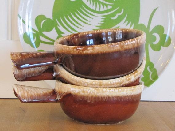 3 Mccoy Brown Drip Bowls Mccoy Soup Crocks With Handles