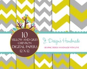 INSTANT DOWNLOAD Yellow And Grey Chevron Paper pack - Personal And Commercia Use - Digital Paper Pack  Colorful Damask- Digital Background