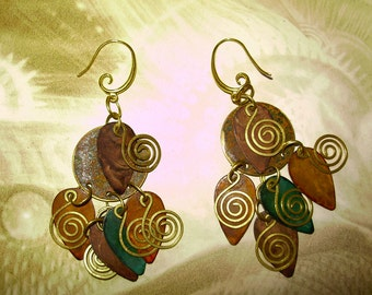 Stunning Copper and Brass Cosmic Spiral Earrings 3inch