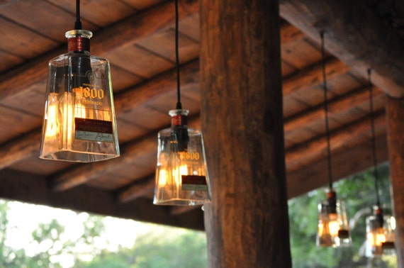 Recycled 1800 Tequila Bottle Pendant Lamp With By