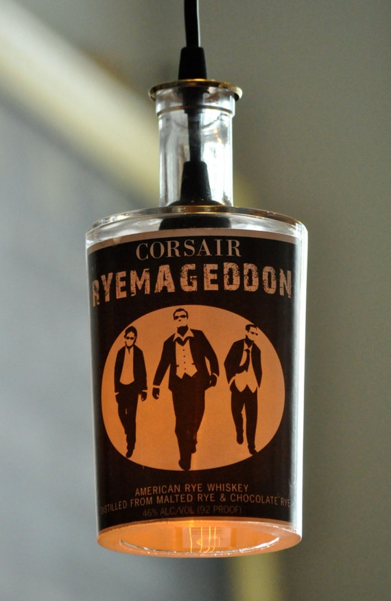Recycled Corsair Ryemaggedon American Rye Whiskey Bottle Hanging Pendant Lamp with Vintage Lightbulb