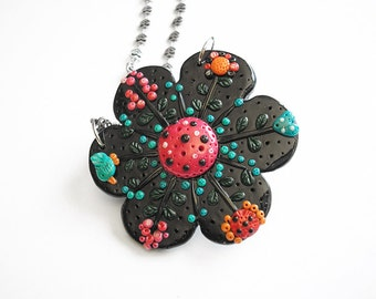 "Flower pendant / OOAK polymer clay necklace, flower necklace / ""Flower Power"" /"