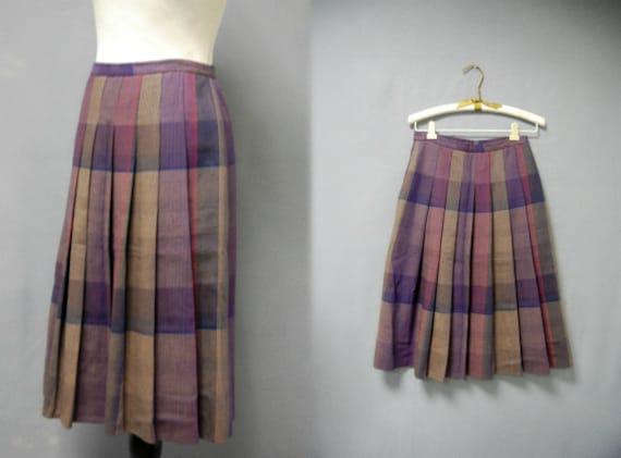 vintage plaid pleated skirt purple school by