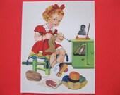 Vintage Unused GIRL KNITTING Blank Note Card--Adorable Artwork--ca 1940s--B222