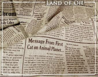 Cotton Linen Vintage Newspaper Fabric Natural Color per Yard 4475-294