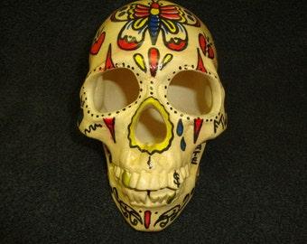 day of the dead  sugar skull stoneware bisque