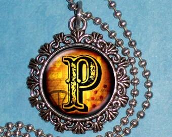 """Letter """"P"""" Art Pendant,  Alphabet Resin Pendant, Vintage Silver, Black & Brown Photo Pendant"""