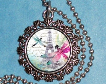 Eiffel Tower & Dragonflies Art Pendant, Colorful Insects in Paris Resin Art Pendant, Photo Pendant