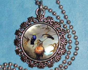 Two Birds and their Nest Art Pendant, Black-Breasted Plovercrest Resin Pendant, Martin Johnson Heade Art, Photo Pendant