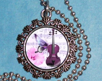 Vintage Music Art Pendant, Music Sheet with Violin, Butterfly and Flower Art Resin Pendant, Photo Pendant Charm
