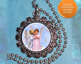 An Angel's Kiss Art Pendant, Kissed by an Angel Resin Photo Charm, Ball Chain Necklace by YessiJewels