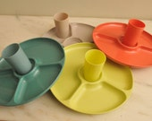 Mid Century Plastic Mod Dishes with Matching Cups