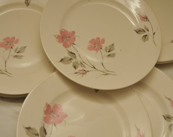 Vintage Knowles Dusty Rose Plates SET OF 8
