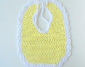 Baby Girl Yellow And White Cotton Bib For Newborn To Toddler Infant Feeding Accessory Crochet Scallop Edge