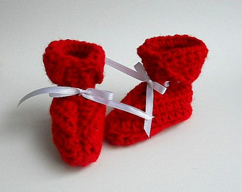 Girl Red Baby  Booties Infant Boy  Slippers 3 To 9 Months July 4th Valentines Day Winter Clothing  Christmas Patriotic Holiday Ready To Ship