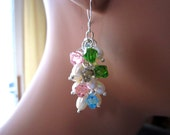 Dangle Pearls and Swarovski Crystal Cluster Multi Color Sterling Silver Earrings