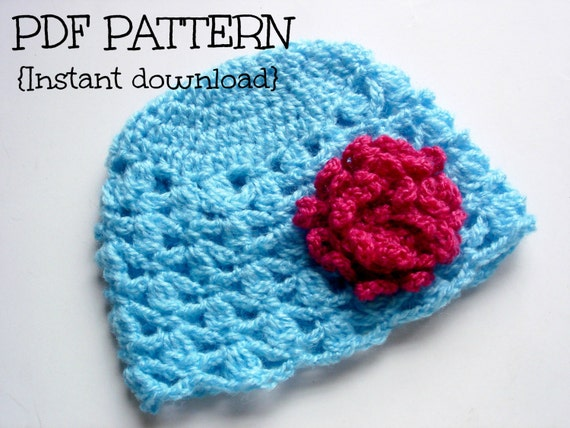 Free Crochet Pattern For Cluster Beanie : Items similar to Crochet hat pattern, crochet beanie ...