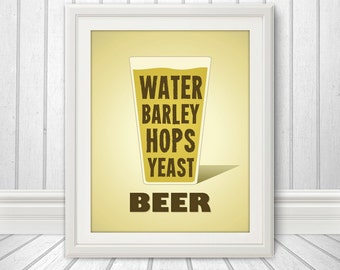 Beer Water Barley Hops Yeast Print, Beer Glass, Beer Print, Beer Poster, Beer Quote Print, Beer Art, Retro, Pint Glass