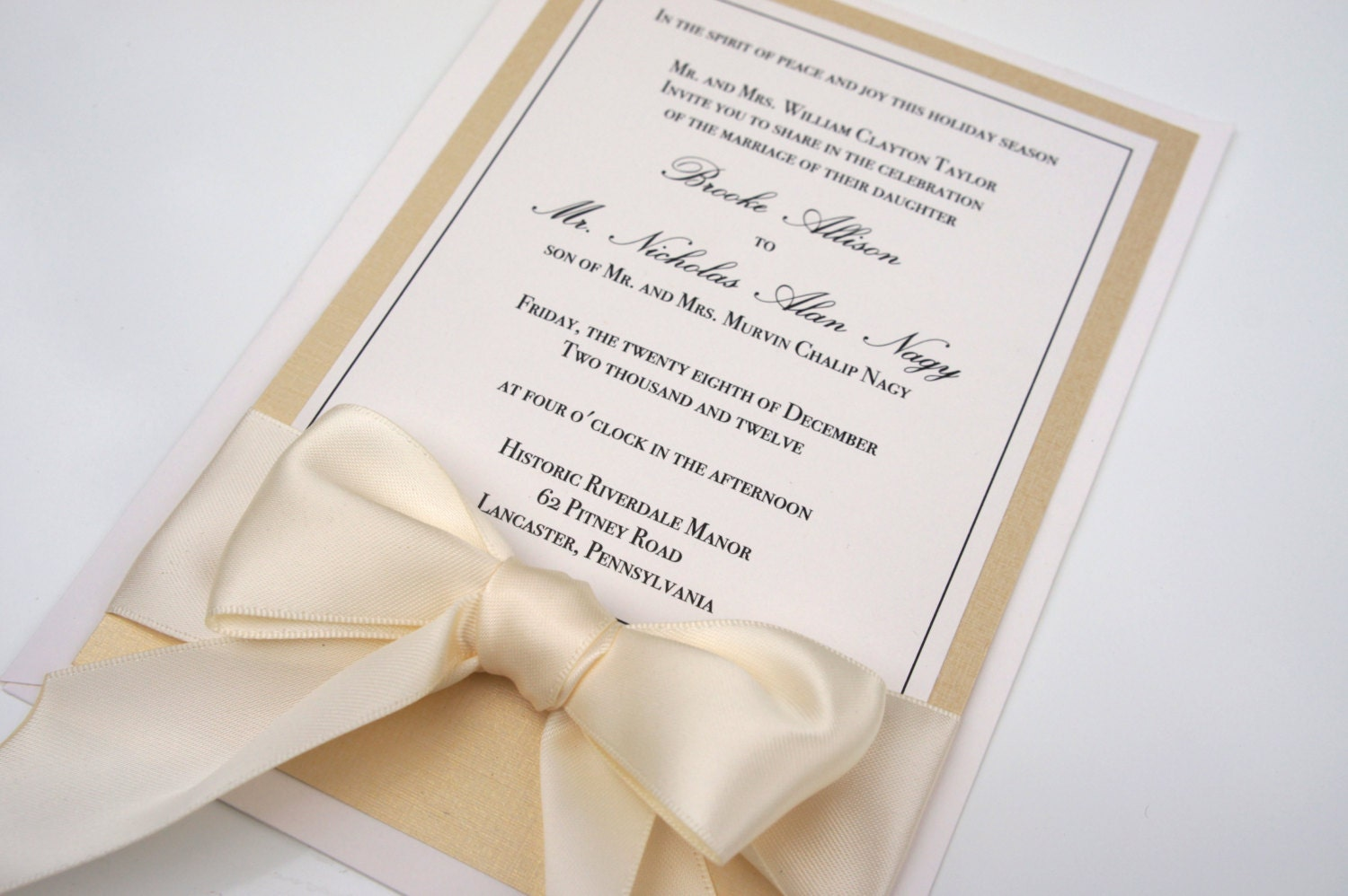 Traditional Elegant Wedding Invitations: Elegant Traditional Gold Ivory & Champagne Bow By