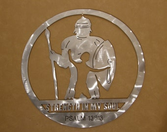 Metal wall art sculpture of David and Goliath