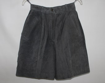 Women's Vintage 1980s Slate Gray Suede Shorts / Size 8 / High Waisted