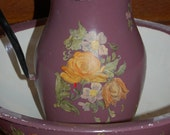 Large, vintage enamelware pitcher and wash bowl, hand painted