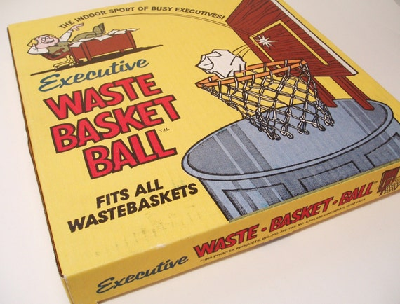 Vintage Novelty Basketball Hoop Waste Basket Trash Game 1966