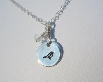 Hand Stamped Mini Disc Tiny Bird Necklace with Aquamarine