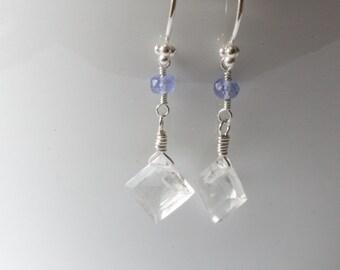 Tanzanite and Diamond Cut Faceted Clear Quartz Earrings Lavender earrings Minimalist Gemstone Earrings