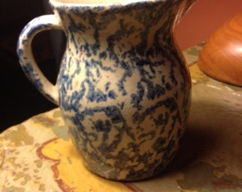 Beautiful Blue and Tan Vintage Pitcher or Vase