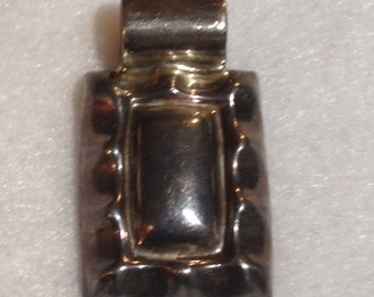 Heavy Vintage Sterling Silver Pendant Signed Mexico .925